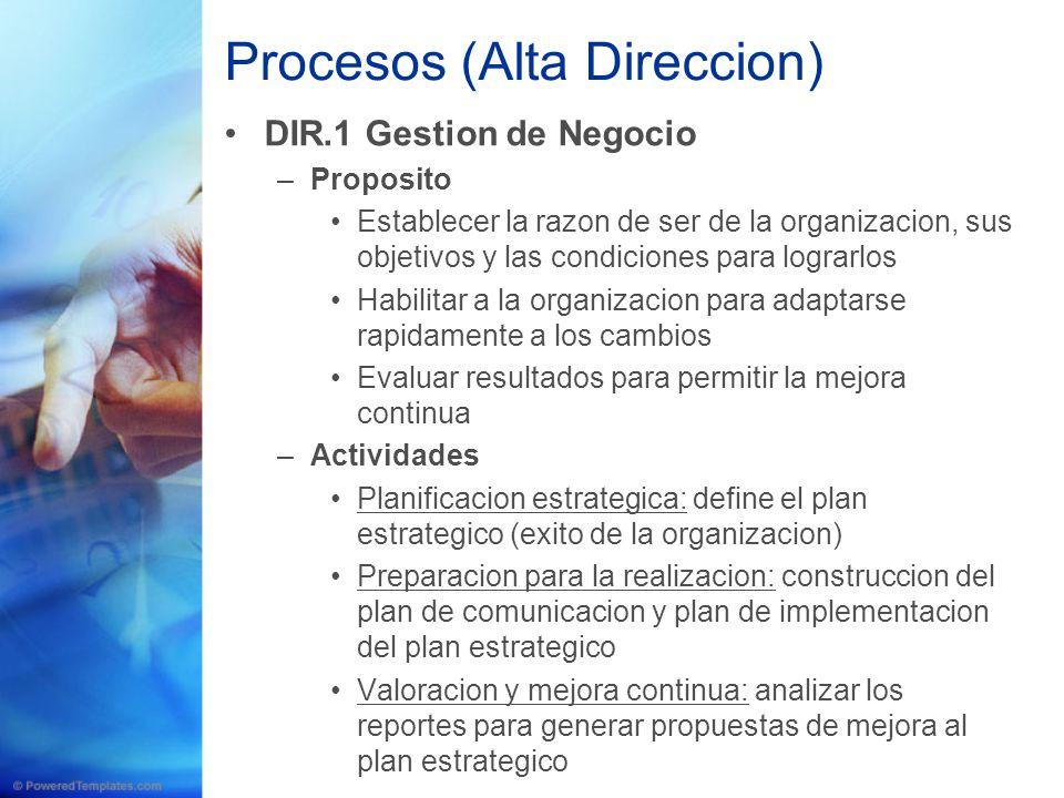 Procesos (Alta Direccion) DIR.1 Gestion de Negocio –Proposito Establecer la razon de ser de la organizacion, sus objetivos y las condiciones para logr