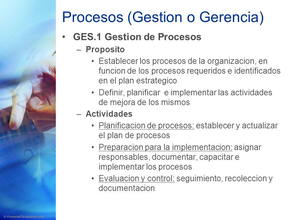 Procesos (Gestion o Gerencia) GES.1 Gestion de Procesos –Proposito Establecer los procesos de la organizacion, en funcion de los procesos requeridos e