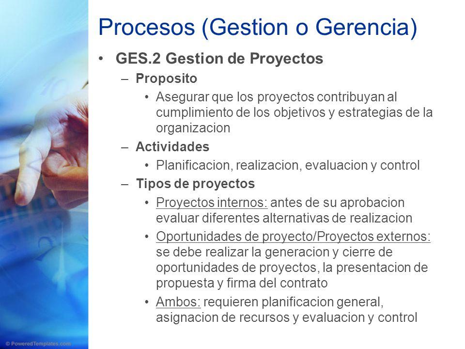 Procesos (Gestion o Gerencia) GES.2 Gestion de Proyectos –Proposito Asegurar que los proyectos contribuyan al cumplimiento de los objetivos y estrateg
