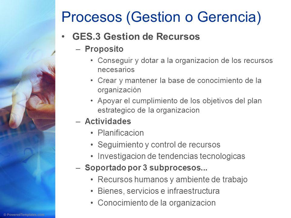 Procesos (Gestion o Gerencia) GES.3 Gestion de Recursos –Proposito Conseguir y dotar a la organizacion de los recursos necesarios Crear y mantener la