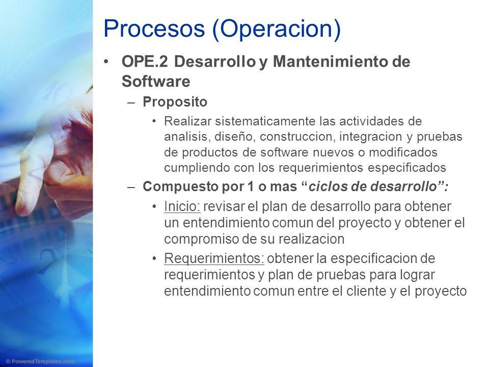 Procesos (Operacion) OPE.2 Desarrollo y Mantenimiento de Software –Proposito Realizar sistematicamente las actividades de analisis, diseño, construcci