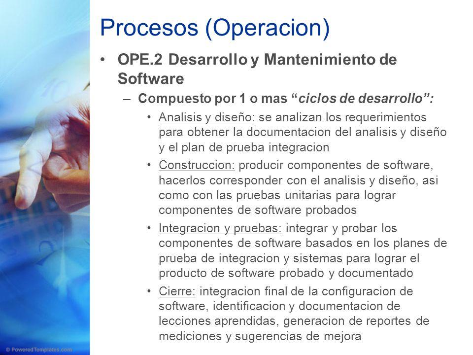 Procesos (Operacion) OPE.2 Desarrollo y Mantenimiento de Software –Compuesto por 1 o mas ciclos de desarrollo: Analisis y diseño: se analizan los requ