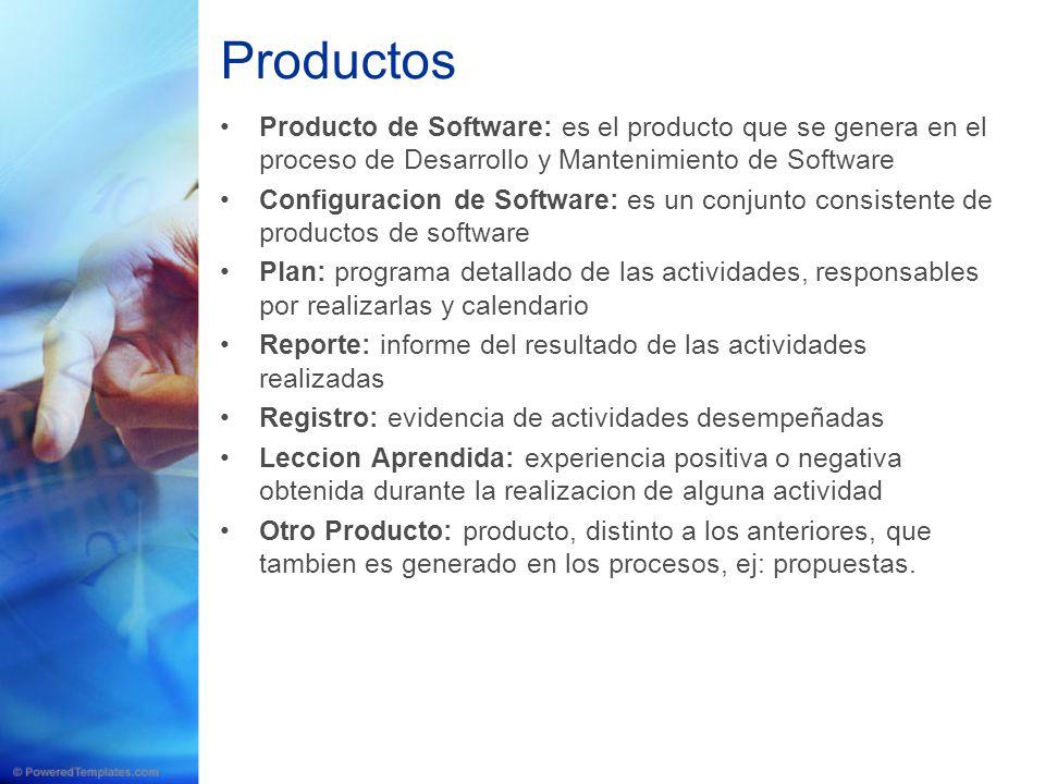 Producto de Software: es el producto que se genera en el proceso de Desarrollo y Mantenimiento de Software Configuracion de Software: es un conjunto c