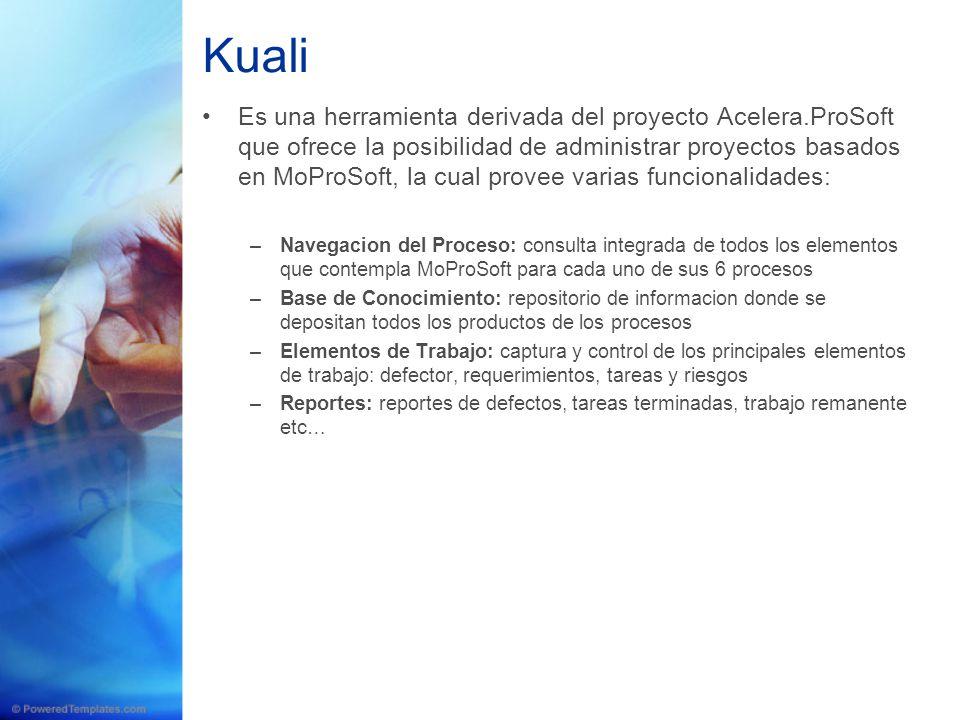 Kuali Es una herramienta derivada del proyecto Acelera.ProSoft que ofrece la posibilidad de administrar proyectos basados en MoProSoft, la cual provee