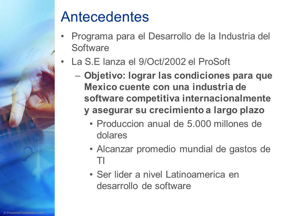 Antecedentes Programa para el Desarrollo de la Industria del Software La S.E lanza el 9/Oct/2002 el ProSoft –Objetivo: lograr las condiciones para que