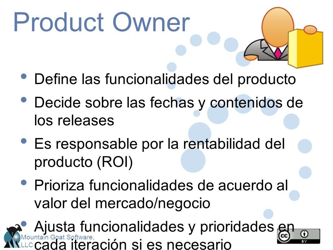 Mountain Goat Software, LLC Product Owner Define las funcionalidades del producto Decide sobre las fechas y contenidos de los releases Es responsable