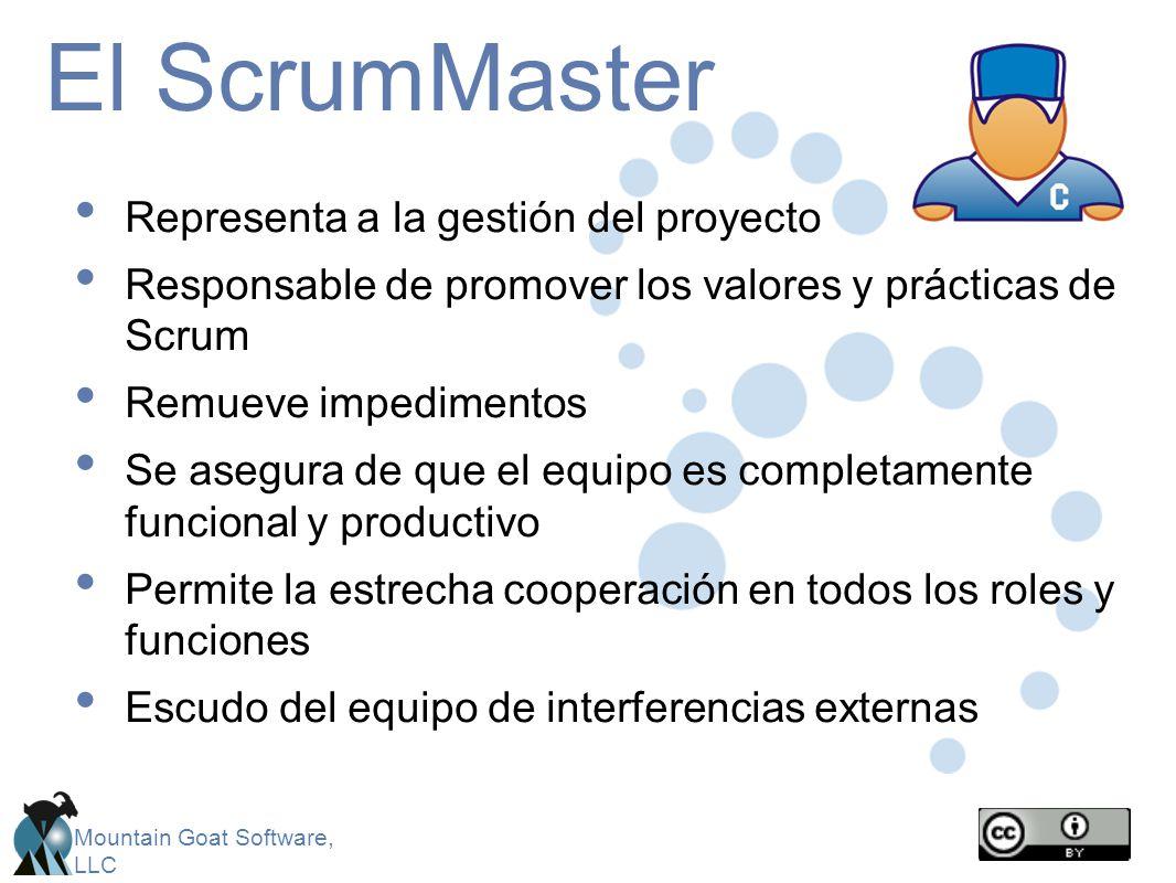 Mountain Goat Software, LLC El ScrumMaster Representa a la gestión del proyecto Responsable de promover los valores y prácticas de Scrum Remueve imped