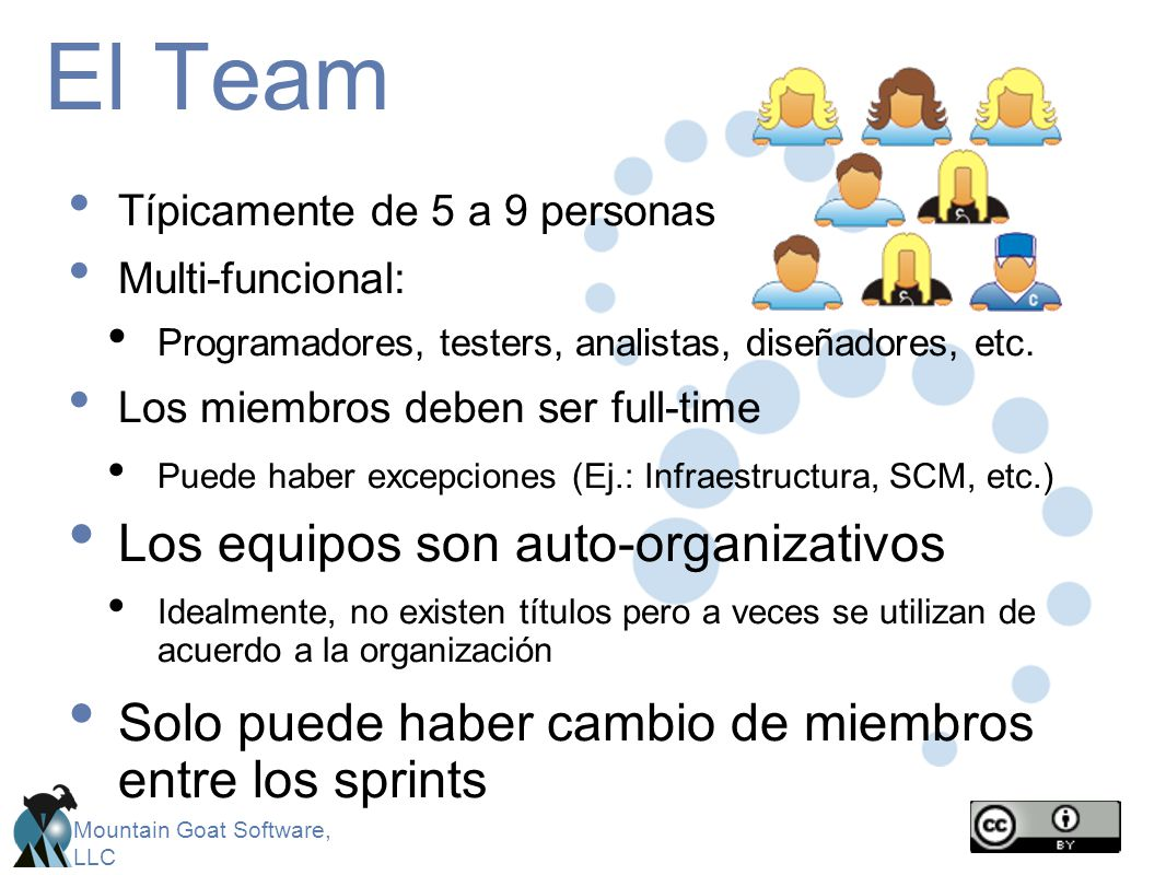 Mountain Goat Software, LLC El Team Típicamente de 5 a 9 personas Multi-funcional: Programadores, testers, analistas, diseñadores, etc. Los miembros d