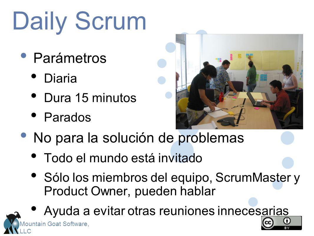 Mountain Goat Software, LLC Daily Scrum Parámetros Diaria Dura 15 minutos Parados No para la solución de problemas Todo el mundo está invitado Sólo lo