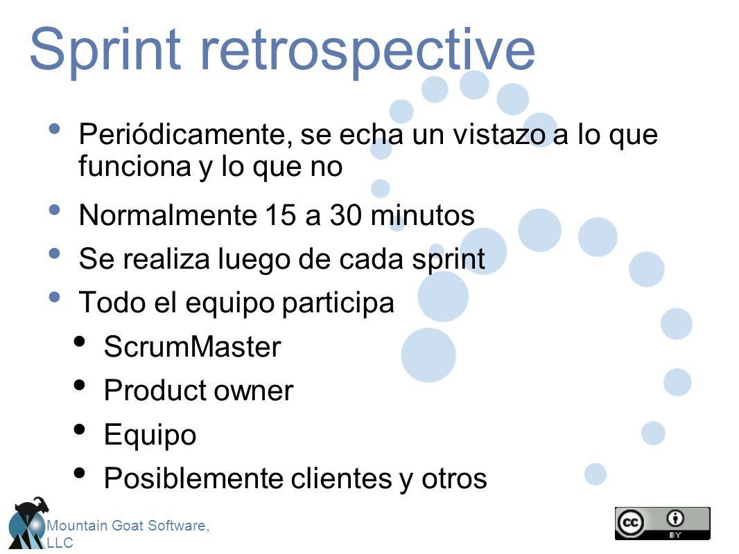 Mountain Goat Software, LLC Sprint retrospective Periódicamente, se echa un vistazo a lo que funciona y lo que no Normalmente 15 a 30 minutos Se reali