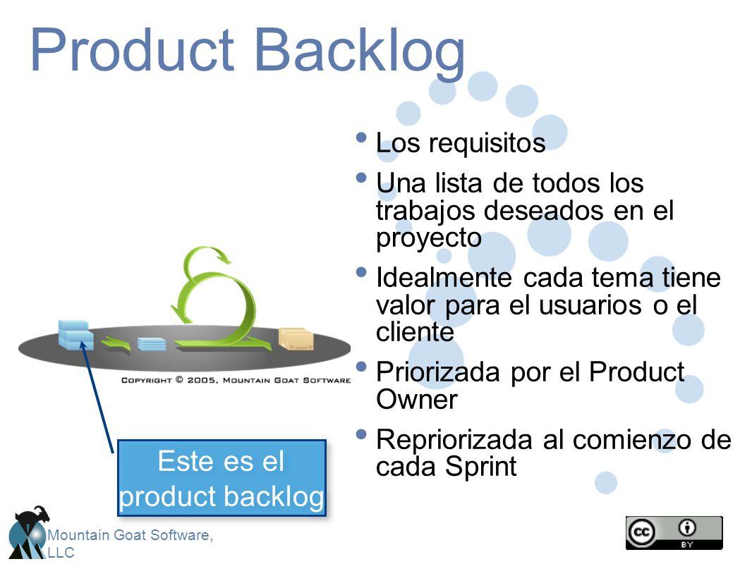 Mountain Goat Software, LLC Product Backlog Los requisitos Una lista de todos los trabajos deseados en el proyecto Idealmente cada tema tiene valor pa