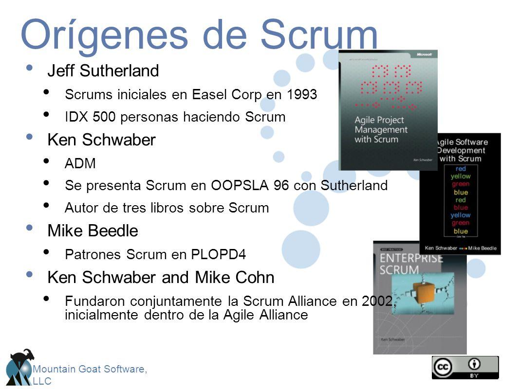Mountain Goat Software, LLC Orígenes de Scrum Jeff Sutherland Scrums iniciales en Easel Corp en 1993 IDX 500 personas haciendo Scrum Ken Schwaber ADM