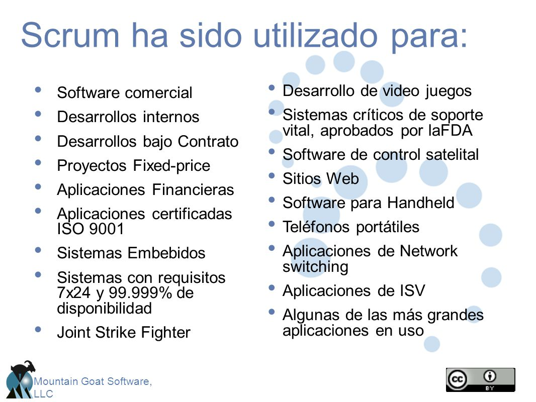 Mountain Goat Software, LLC Scrum ha sido utilizado para: Software comercial Desarrollos internos Desarrollos bajo Contrato Proyectos Fixed-price Apli
