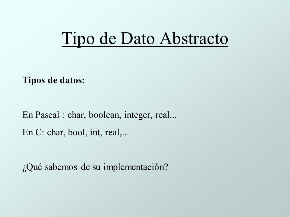 Tipo de Dato Abstracto Tipos de datos: En Pascal : char, boolean, integer, real...
