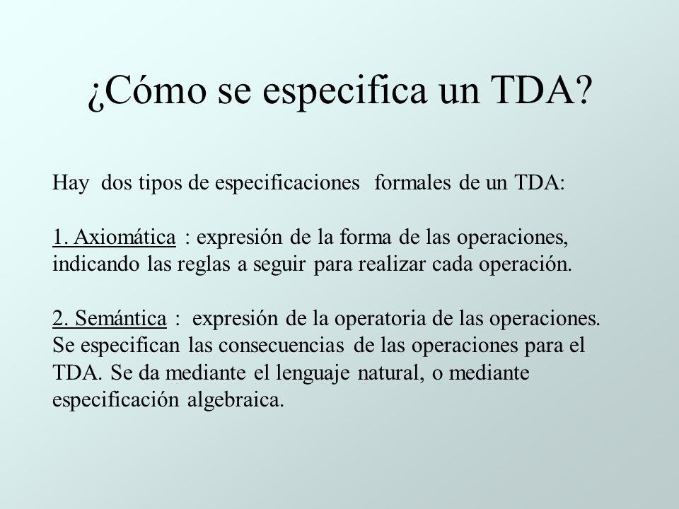 ¿Cómo se especifica un TDA.Hay dos tipos de especificaciones formales de un TDA: 1.