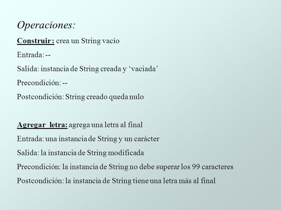Operaciones: Construir : crea un String vacío Entrada: -- Salida: instancia de String creada y vaciada Precondición: -- Postcondición: String creado queda nulo Agregar_letra: agrega una letra al final Entrada: una instancia de String y un carácter Salida: la instancia de String modificada Precondición: la instancia de String no debe superar los 99 caracteres Postcondición: la instancia de String tiene una letra más al final