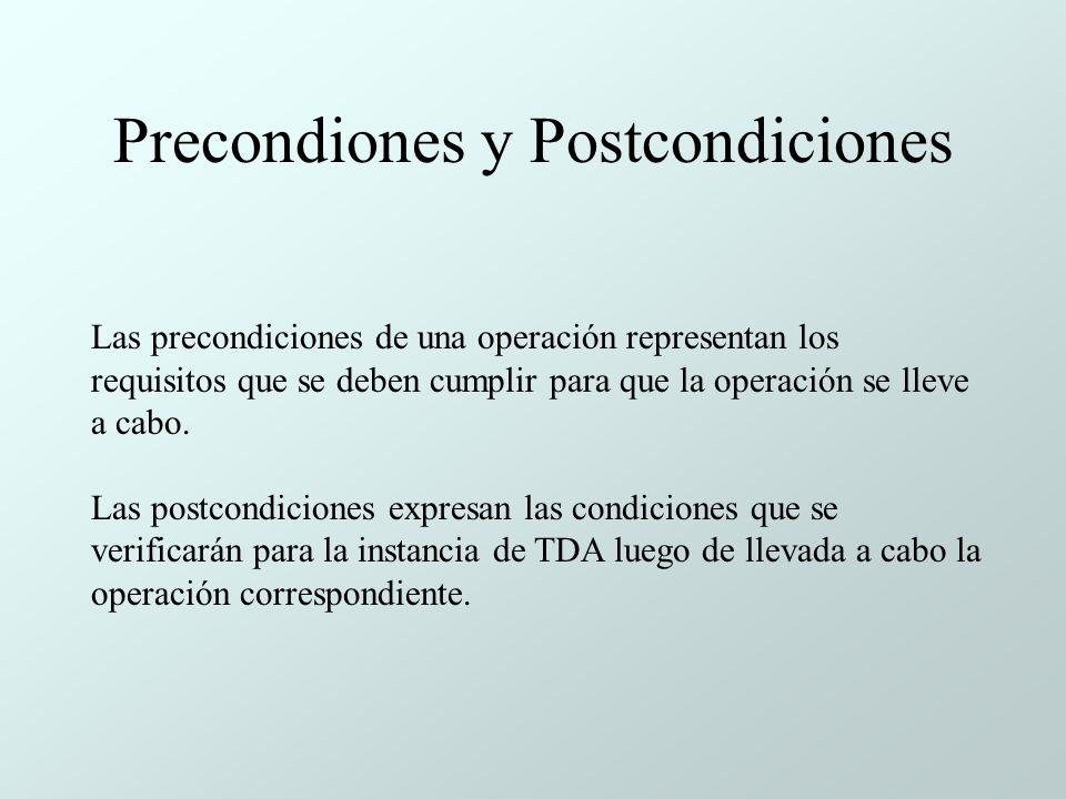 Precondiones y Postcondiciones Las precondiciones de una operación representan los requisitos que se deben cumplir para que la operación se lleve a cabo.