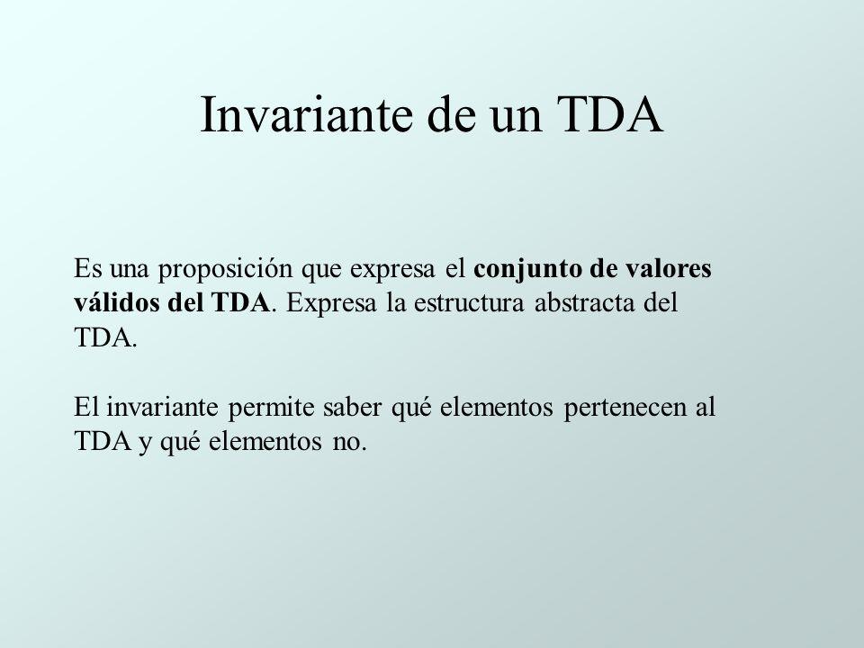 Invariante de un TDA Es una proposición que expresa el conjunto de valores válidos del TDA.