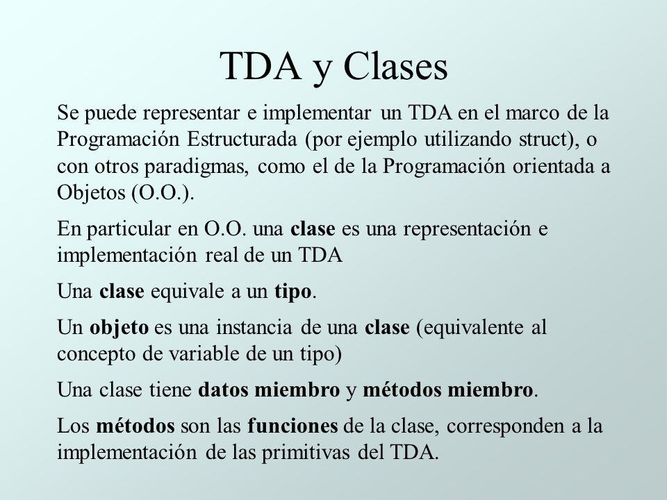 TDA y Clases Se puede representar e implementar un TDA en el marco de la Programación Estructurada (por ejemplo utilizando struct), o con otros paradigmas, como el de la Programación orientada a Objetos (O.O.).