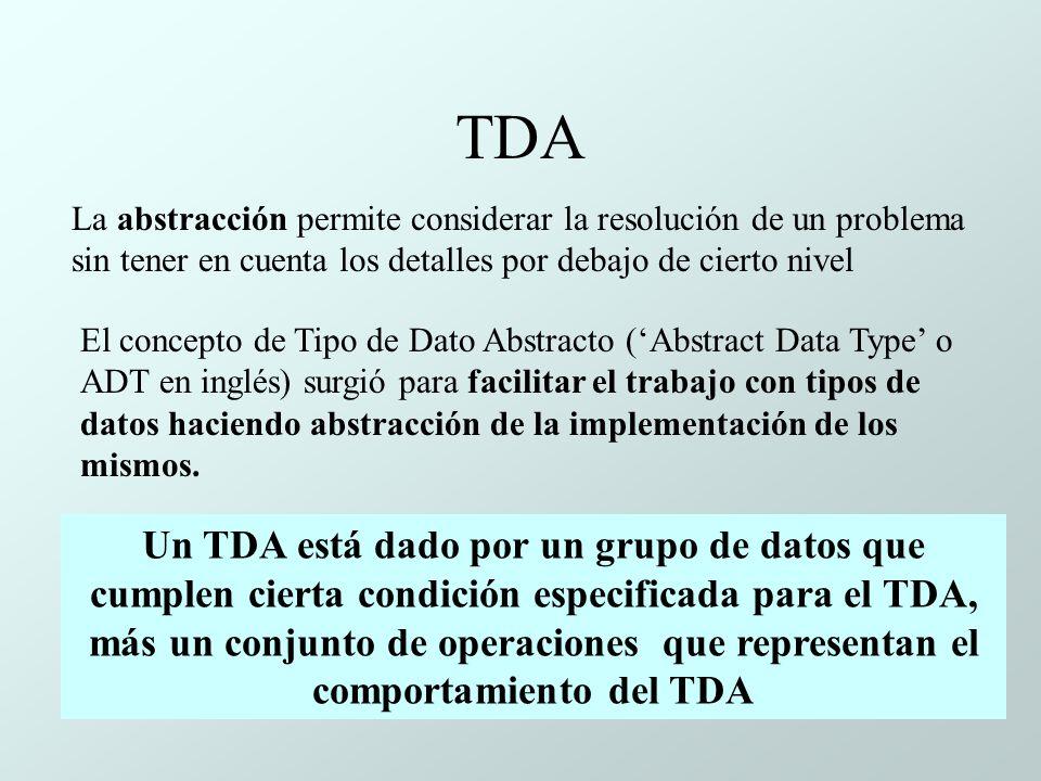 TDA La abstracción permite considerar la resolución de un problema sin tener en cuenta los detalles por debajo de cierto nivel El concepto de Tipo de Dato Abstracto (Abstract Data Type o ADT en inglés) surgió para facilitar el trabajo con tipos de datos haciendo abstracción de la implementación de los mismos.