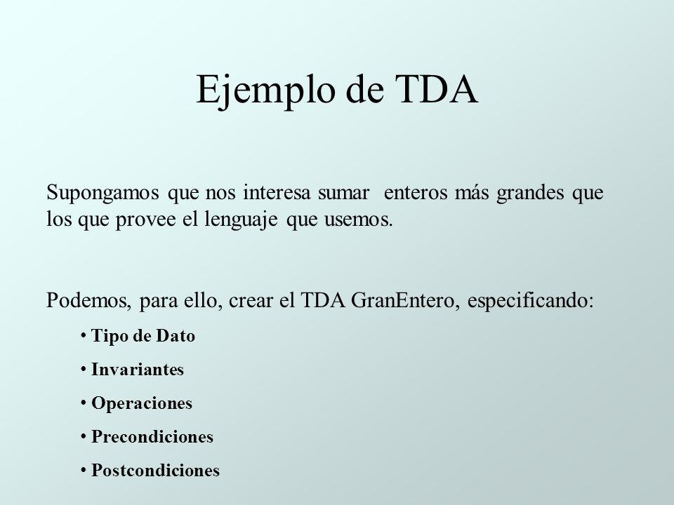 Ejemplo de TDA Supongamos que nos interesa sumar enteros más grandes que los que provee el lenguaje que usemos.