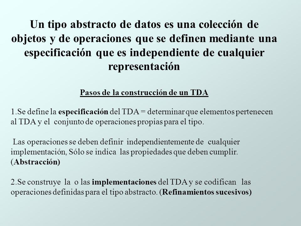 Un tipo abstracto de datos es una colección de objetos y de operaciones que se definen mediante una especificación que es independiente de cualquier representación Pasos de la construcción de un TDA 1.Se define la especificación del TDA = determinar que elementos pertenecen al TDA y el conjunto de operaciones propias para el tipo.