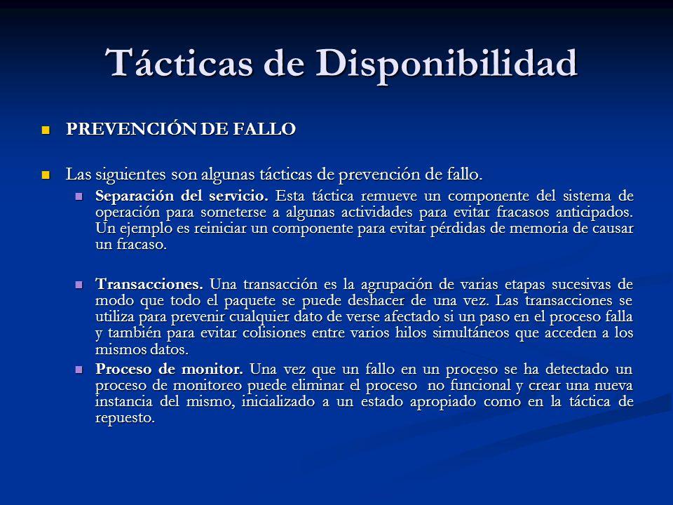 Tácticas de Disponibilidad Tácticas de Disponibilidad PREVENCIÓN DE FALLO PREVENCIÓN DE FALLO Las siguientes son algunas tácticas de prevención de fallo.