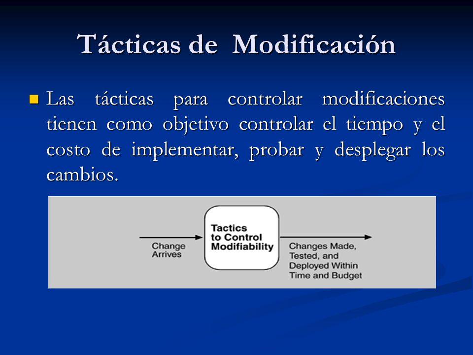 Tácticas de Modificación Las tácticas para controlar modificaciones tienen como objetivo controlar el tiempo y el costo de implementar, probar y desplegar los cambios.