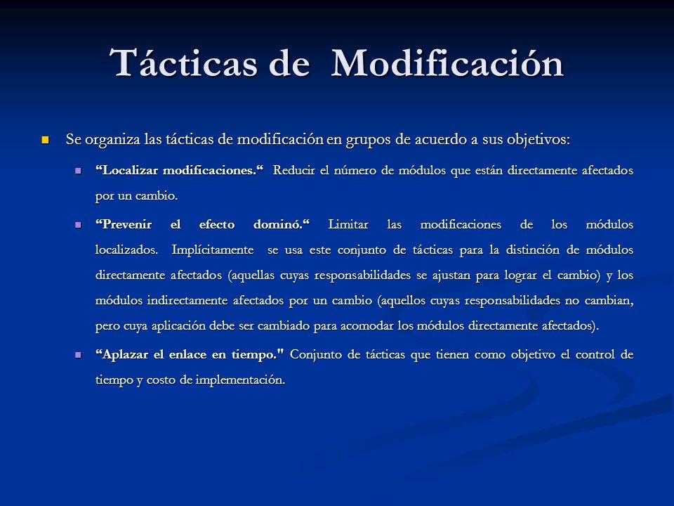 Tácticas de Modificación Se organiza las tácticas de modificación en grupos de acuerdo a sus objetivos: Se organiza las tácticas de modificación en grupos de acuerdo a sus objetivos: Localizar modificaciones.