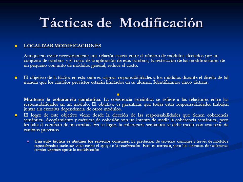 Tácticas de Modificación LOCALIZAR MODIFICACIONES Aunque no existe necesariamente una relación exacta entre el número de módulos afectados por un conjunto de cambios y el costo de la aplicación de esos cambios, la restricción de las modificaciones de un pequeño conjunto de módulos general, reduce el costo.