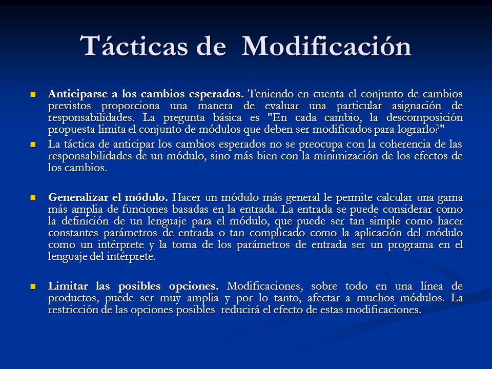 Tácticas de Modificación Anticiparse a los cambios esperados.