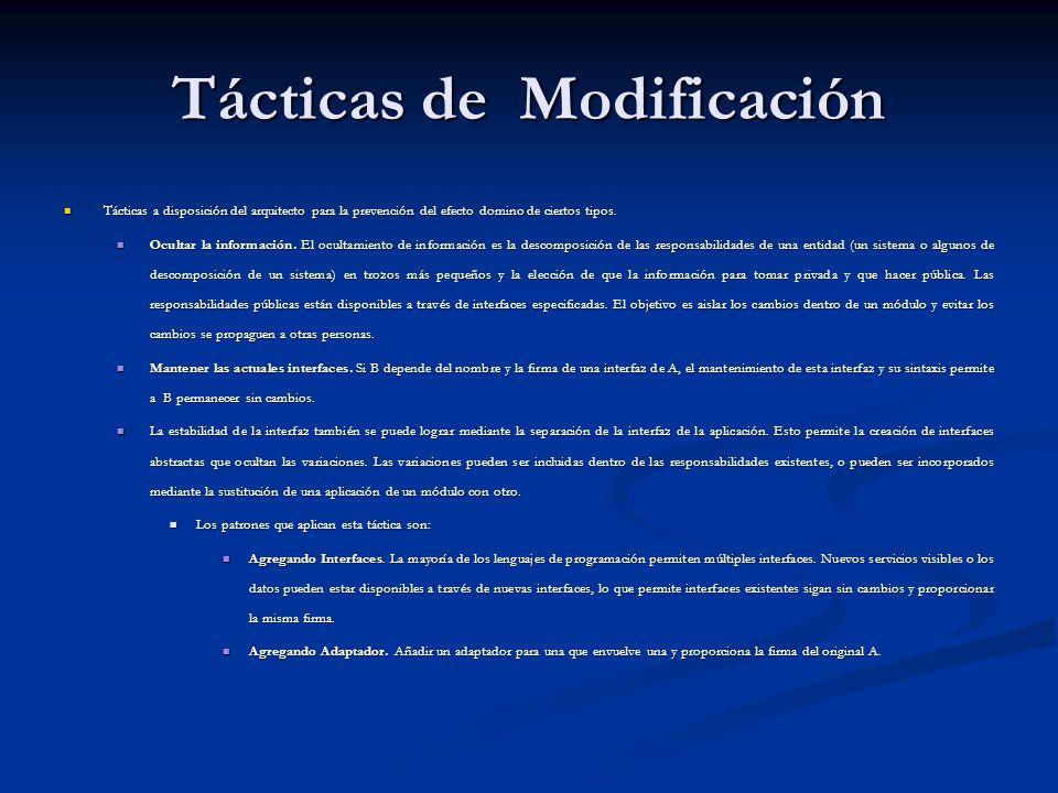Tácticas de Modificación Tácticas a disposición del arquitecto para la prevención del efecto domino de ciertos tipos.