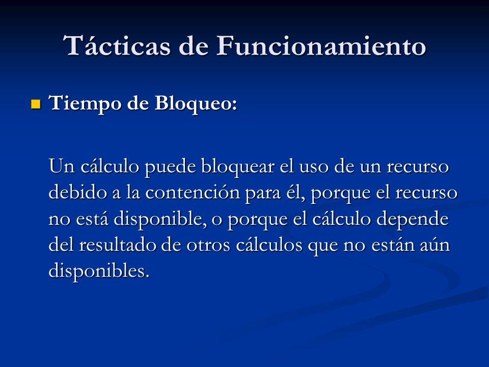 Tácticas de Funcionamiento Tiempo de Bloqueo: Tiempo de Bloqueo: Un cálculo puede bloquear el uso de un recurso debido a la contención para él, porque el recurso no está disponible, o porque el cálculo depende del resultado de otros cálculos que no están aún disponibles.