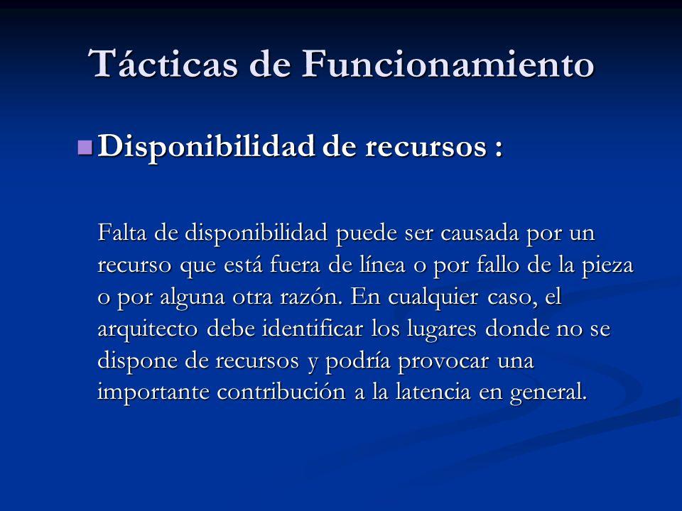 Tácticas de Funcionamiento Disponibilidad de recursos : Disponibilidad de recursos : Falta de disponibilidad puede ser causada por un recurso que está fuera de línea o por fallo de la pieza o por alguna otra razón.