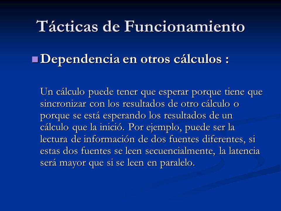 Tácticas de Funcionamiento Dependencia en otros cálculos : Dependencia en otros cálculos : Un cálculo puede tener que esperar porque tiene que sincronizar con los resultados de otro cálculo o porque se está esperando los resultados de un cálculo que la inició.
