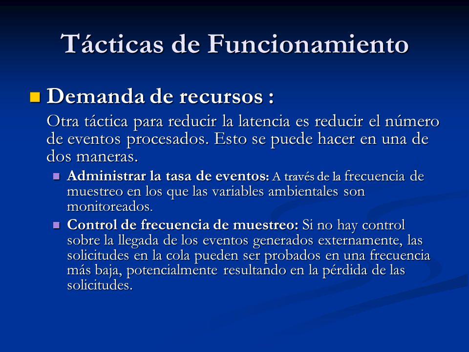 Tácticas de Funcionamiento Demanda de recursos : Demanda de recursos : Otra táctica para reducir la latencia es reducir el número de eventos procesados.