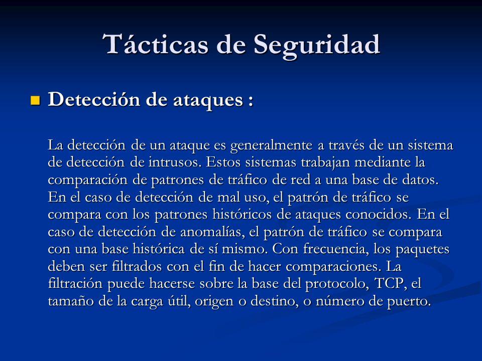 Tácticas de Seguridad Detección de ataques : Detección de ataques : La detección de un ataque es generalmente a través de un sistema de detección de intrusos.