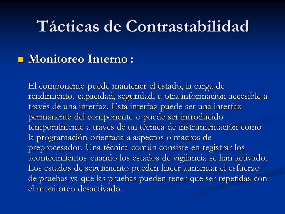 Tácticas de Contrastabilidad Monitoreo Interno : Monitoreo Interno : El componente puede mantener el estado, la carga de rendimiento, capacidad, seguridad, u otra información accesible a través de una interfaz.