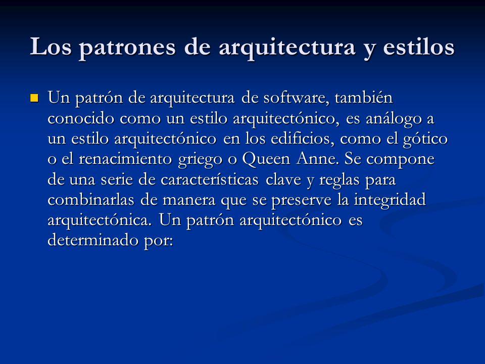 Los patrones de arquitectura y estilos Un patrón de arquitectura de software, también conocido como un estilo arquitectónico, es análogo a un estilo arquitectónico en los edificios, como el gótico o el renacimiento griego o Queen Anne.