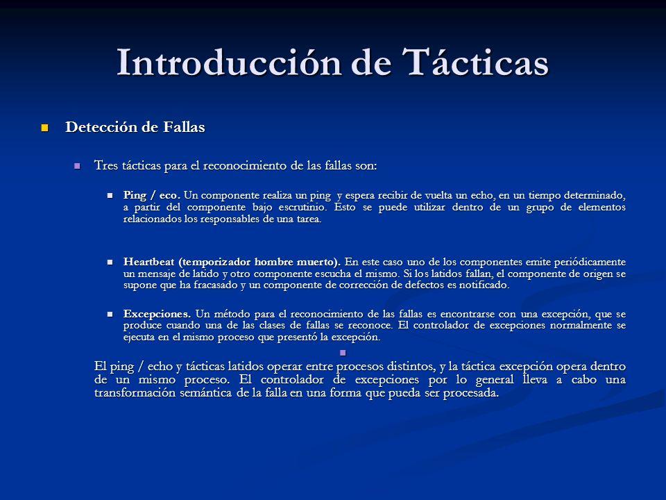 Introducción de Tácticas Detección de Fallas Detección de Fallas Tres tácticas para el reconocimiento de las fallas son: Tres tácticas para el reconocimiento de las fallas son: Ping / eco.