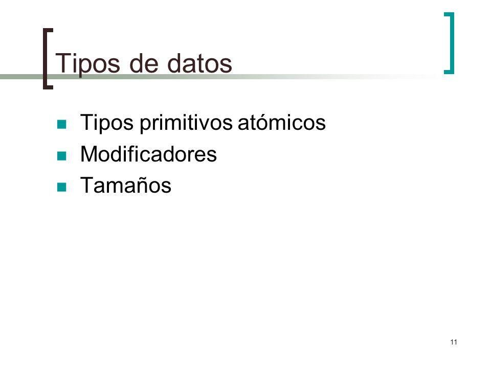 11 Tipos de datos Tipos primitivos atómicos Modificadores Tamaños