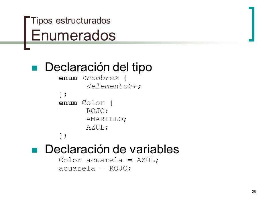 20 Tipos estructurados Enumerados Declaración del tipo enum { +; }; enum Color { ROJO; AMARILLO; AZUL; }; Declaración de variables Color acuarela = AZ
