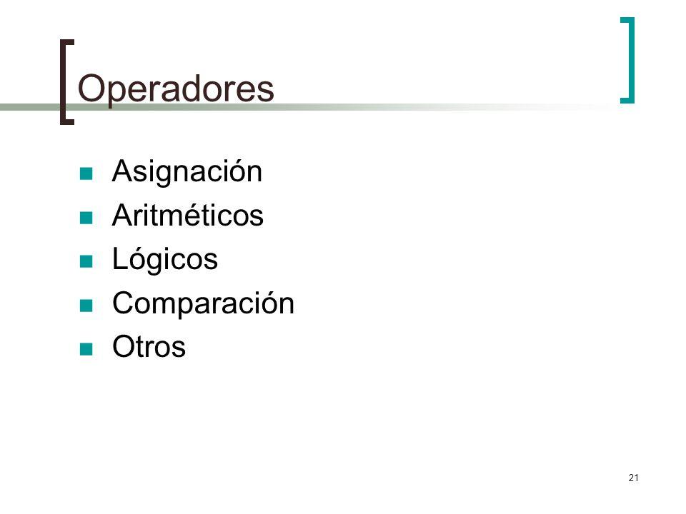 21 Operadores Asignación Aritméticos Lógicos Comparación Otros