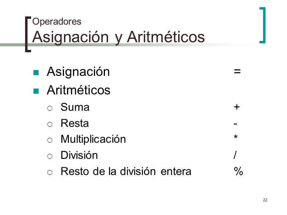 22 Operadores Asignación y Aritméticos Asignación = Aritméticos Suma+ Resta- Multiplicación* División/ Resto de la división entera%
