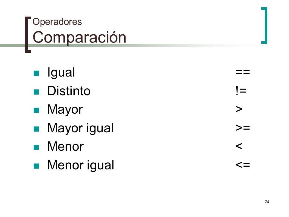 24 Operadores Comparación Igual== Distinto!= Mayor> Mayor igual>= Menor< Menor igual<=
