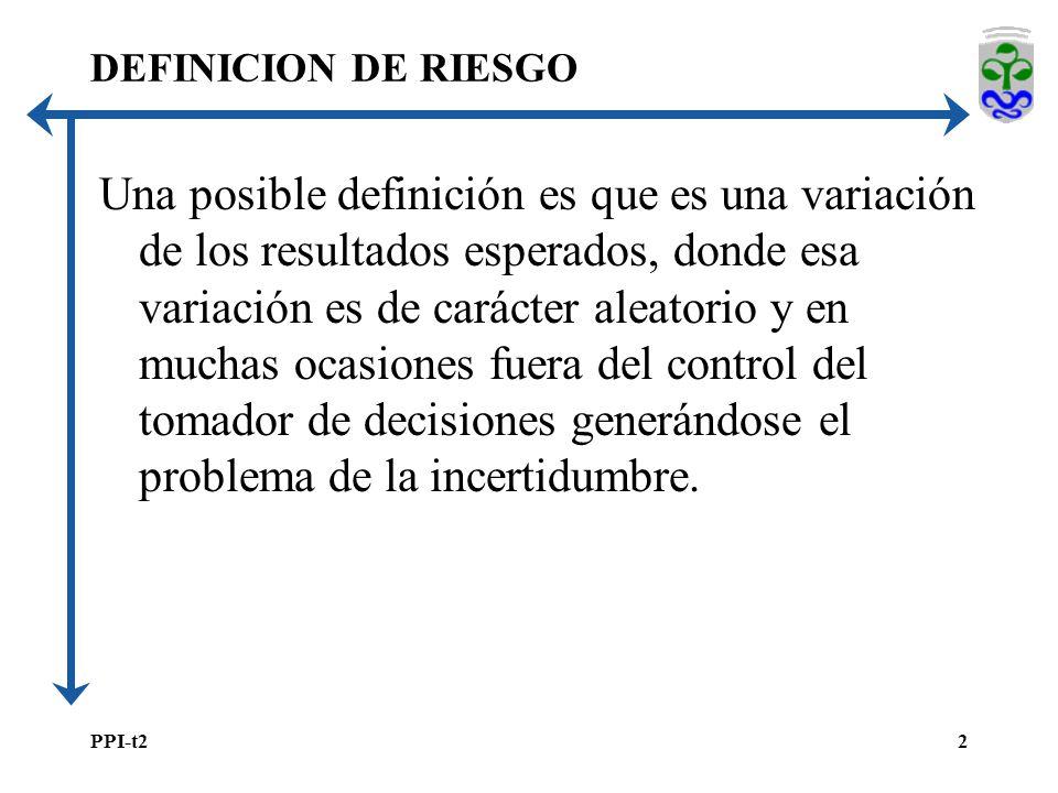 PPI-t22 DEFINICION DE RIESGO Una posible definición es que es una variación de los resultados esperados, donde esa variación es de carácter aleatorio y en muchas ocasiones fuera del control del tomador de decisiones generándose el problema de la incertidumbre.