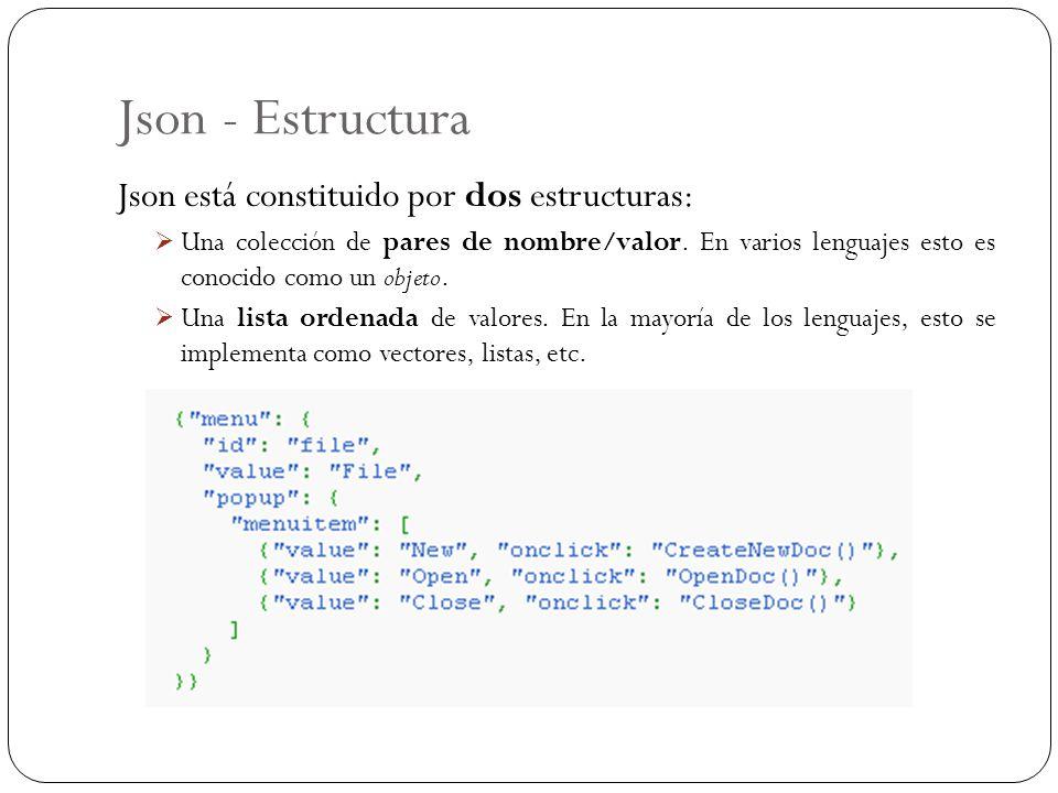 Json - Estructura Json está constituido por dos estructuras: Una colección de pares de nombre/valor. En varios lenguajes esto es conocido como un obje