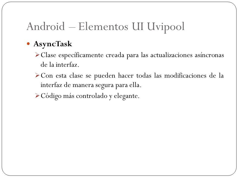 Android – Elementos UI Uvipool AsyncTask Clase específicamente creada para las actualizaciones asíncronas de la interfaz. Con esta clase se pueden hac