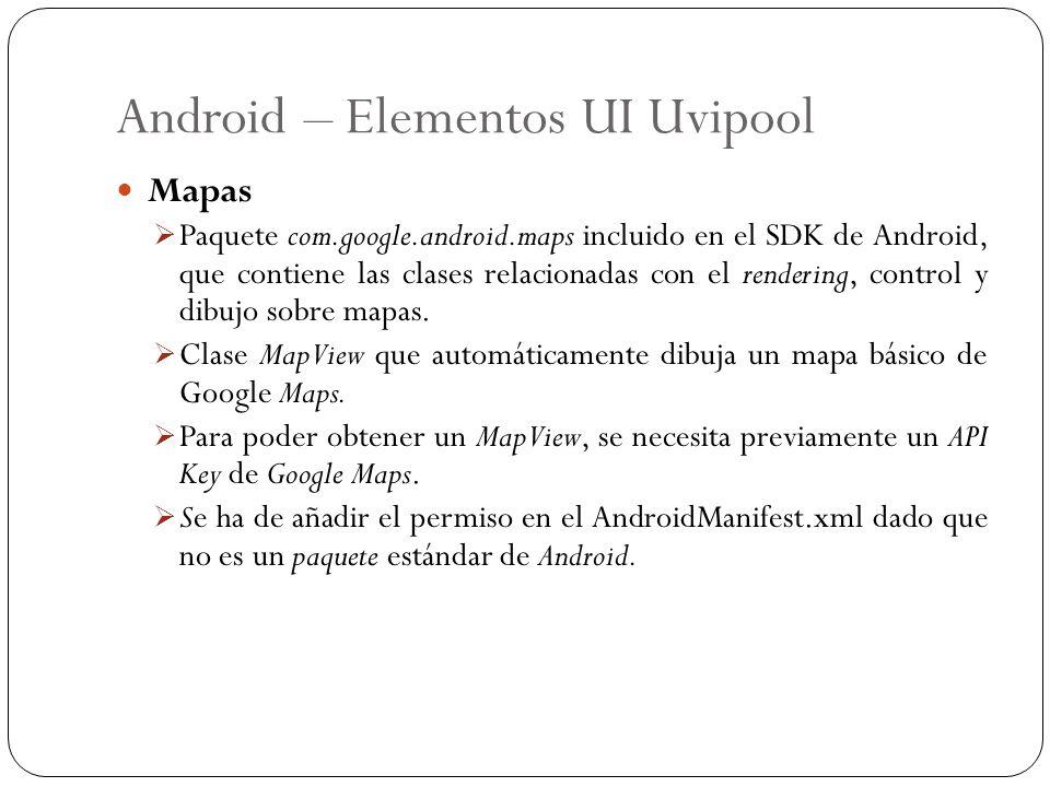 Android – Elementos UI Uvipool Mapas Paquete com.google.android.maps incluido en el SDK de Android, que contiene las clases relacionadas con el render