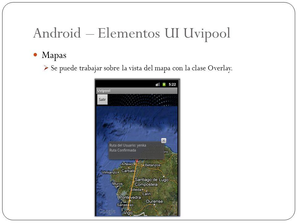 Android – Elementos UI Uvipool Mapas Se puede trabajar sobre la vista del mapa con la clase Overlay.